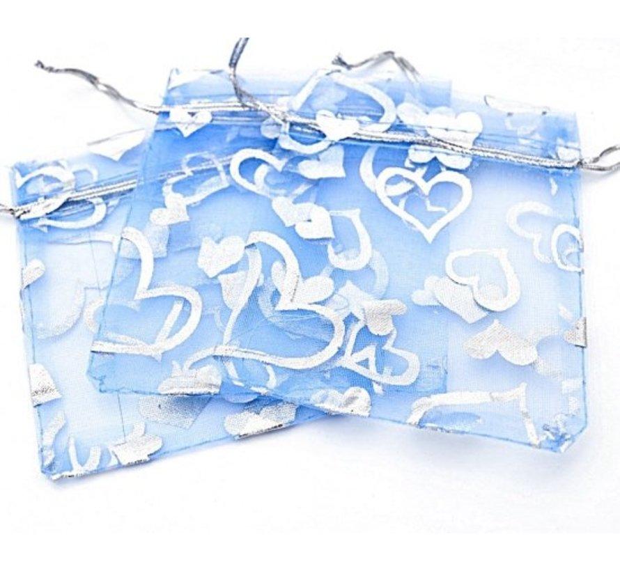 Organza zakje hart blauw 7,5 x 10 cm