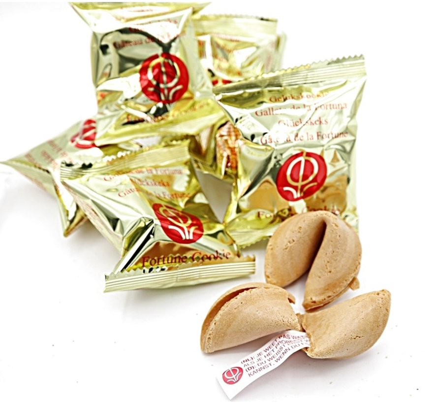Fortune cookie  met een houten hartje 10 stuks