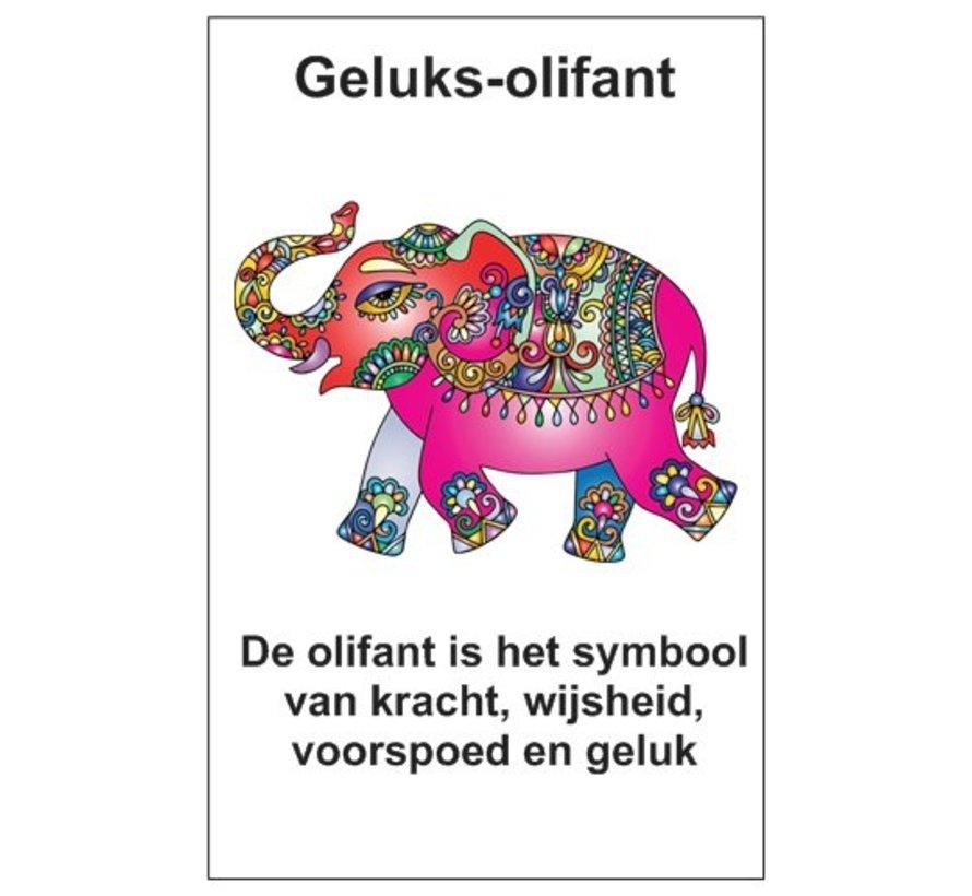 Sleutelhanger olifant van hout met kaartje