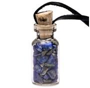 Flesje lapis lazuli steentjes aan koord