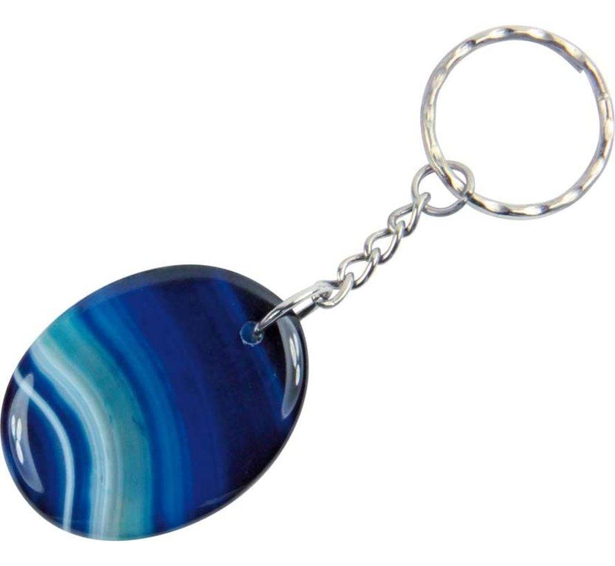 Sleutelhanger agaat blauw