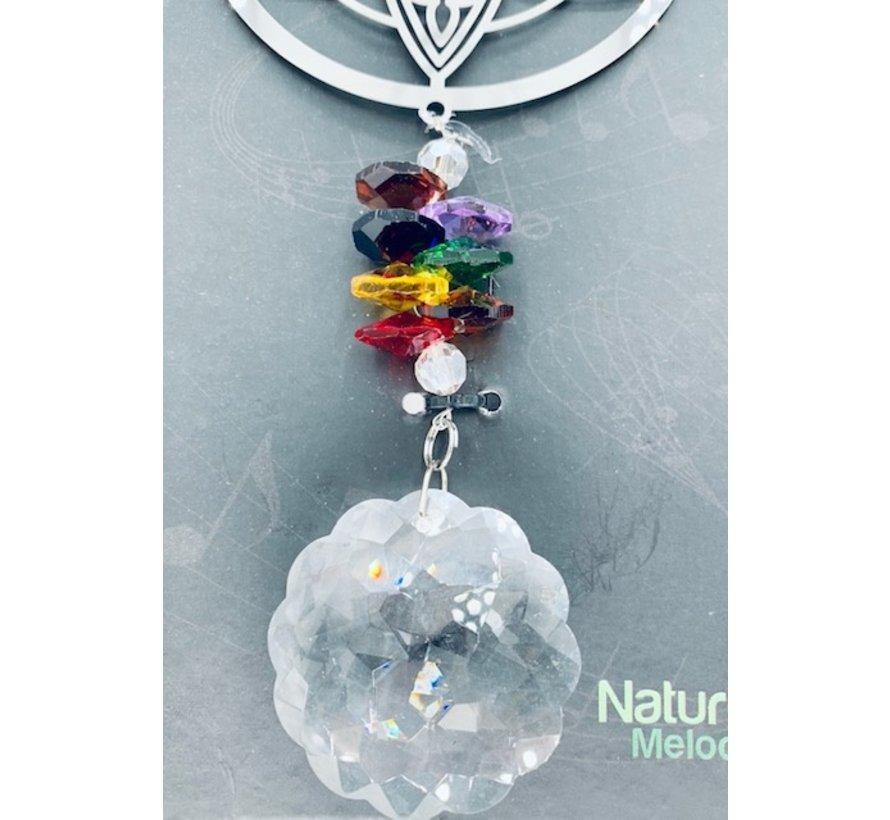 Hanger lotus met een regenboogkristal