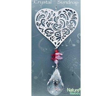Hanger hartje met een regenboogkristal