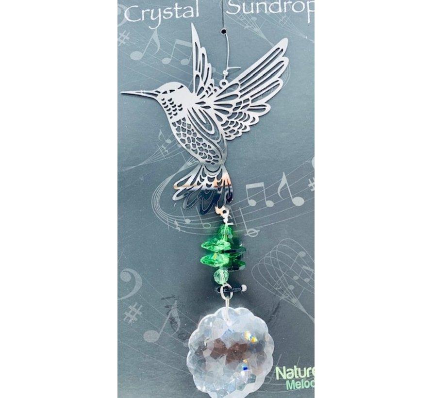 Hanger vogel met een regenboogkristal