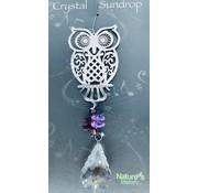 Hanger uil met een regenboogkristal