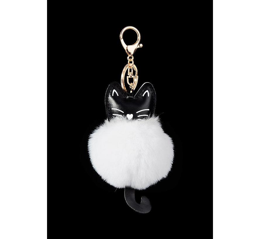Sleutelhanger kat met witte pluizenbol