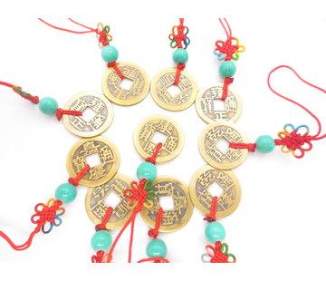 Qing dynastie geluksmunt hanger groen