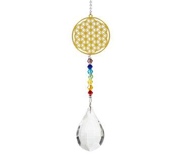 Regenboogkristal met chakra levensbloem