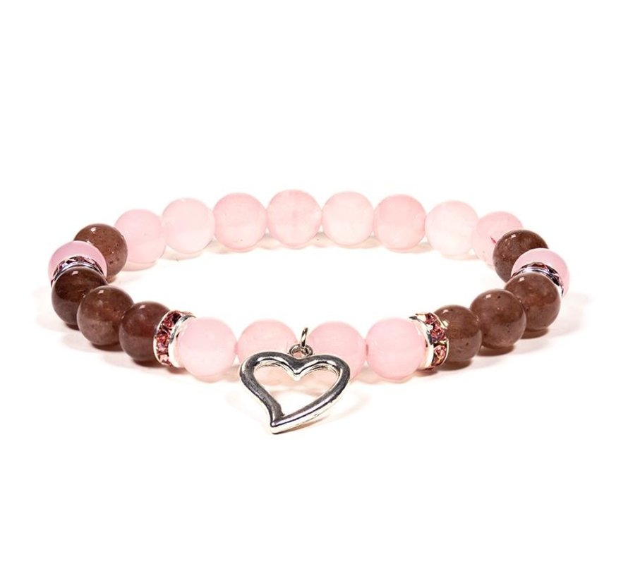 Armband rozenkwarts aardbeien kwarts met hartje