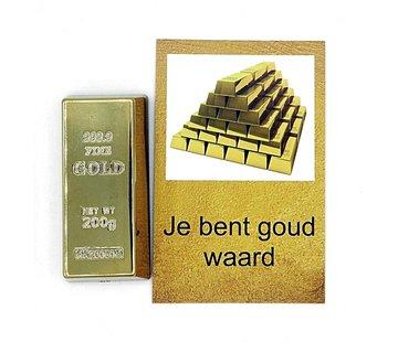 Kaartje je bent goud waard met goudstaaf