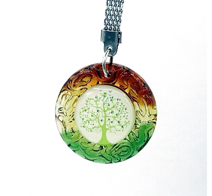 Sleutelhanger levensbloem / Levensboom gekleurd glas