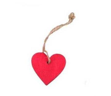 Decoratie hanger houten hartje rood 6 cm