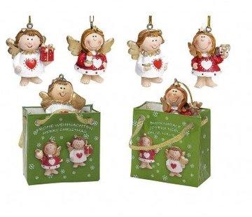 Kerst engel in cadeauzakje met kaartje