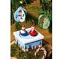 Kerst houten speeldoosje met bewegende figuren