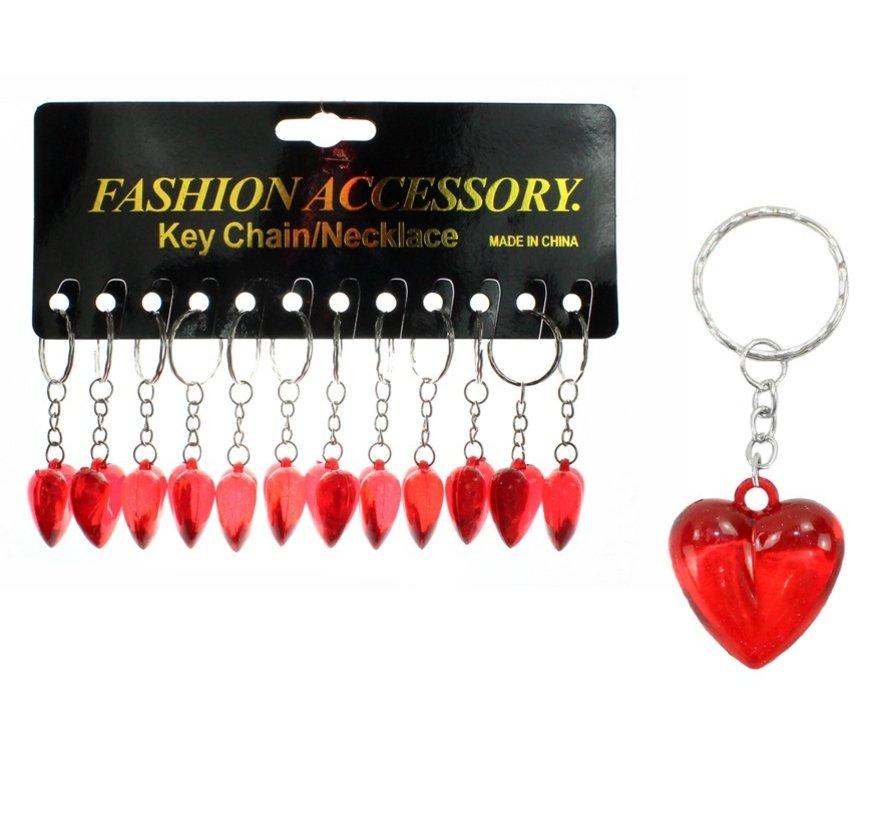 Sleutelhanger rood hartje 12 stuks