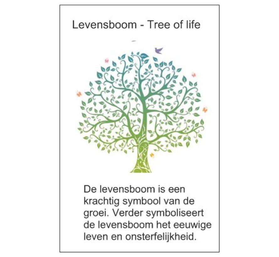 Houten hanger met levensboom met kaartje