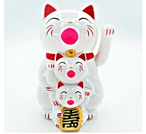 lucky cat wit familie met beweegbare arm
