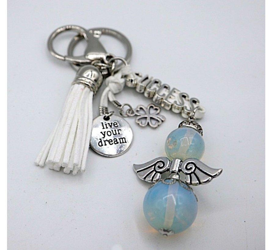 Sleutel/tas hanger engel opaal success