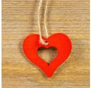 Houten hanger hart 10 stuks