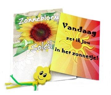 Zonnebloem cadeau in organzazakje