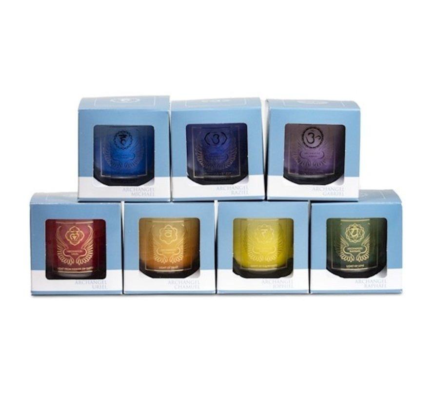 Set van 7 Aartsengelen votief geurkaarsen