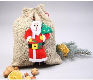 Jute zak kerst met kerstman van vilt