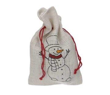 Jute zakje Merry Christmas Sneeuwman