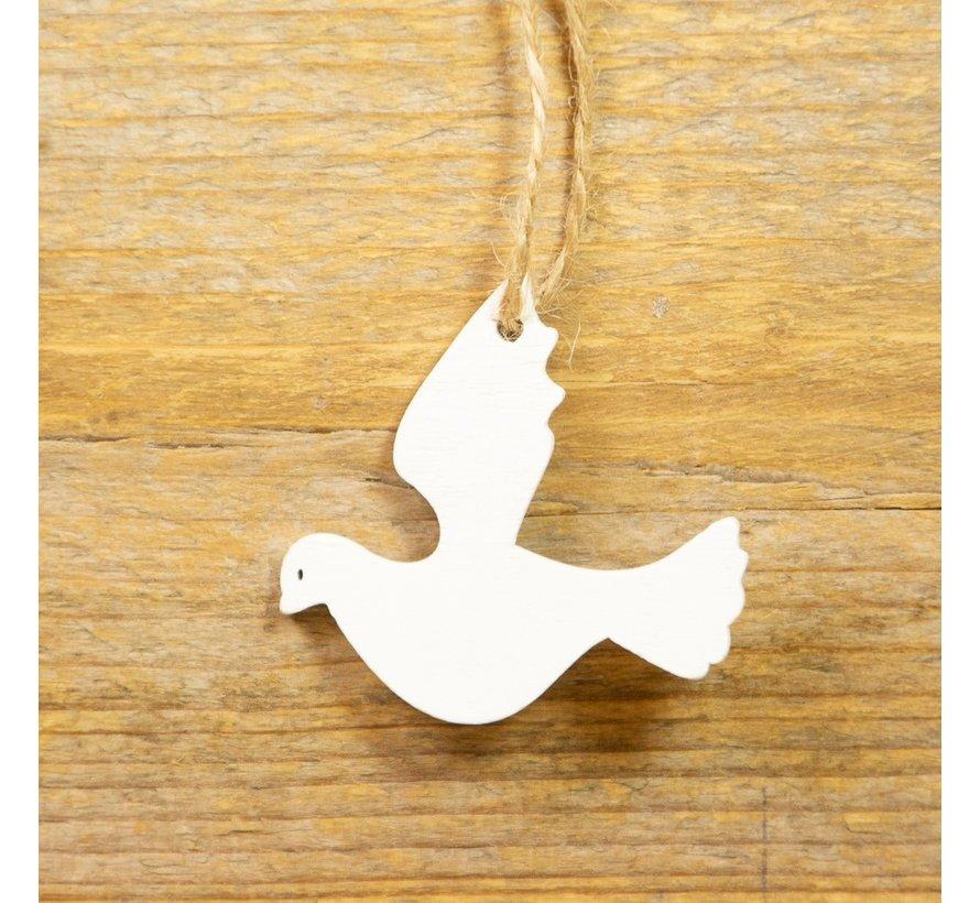 Houten witte duifje hanger aan touwtje 10 stuks