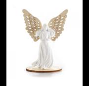 Engeltje gips met houten vleugel
