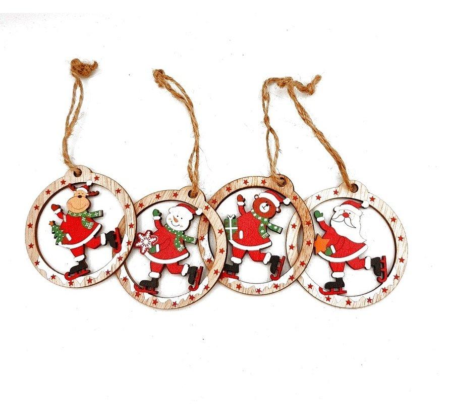 4 vrolijke houten kersthangers