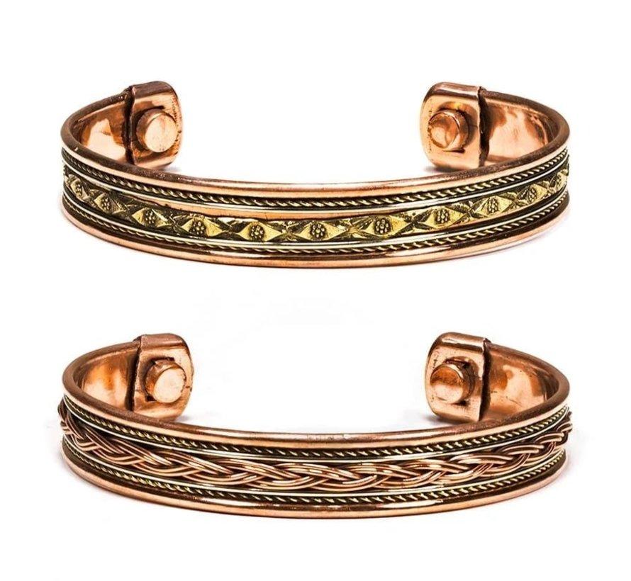 Armbanden magnetisch koper set van 2 stuks