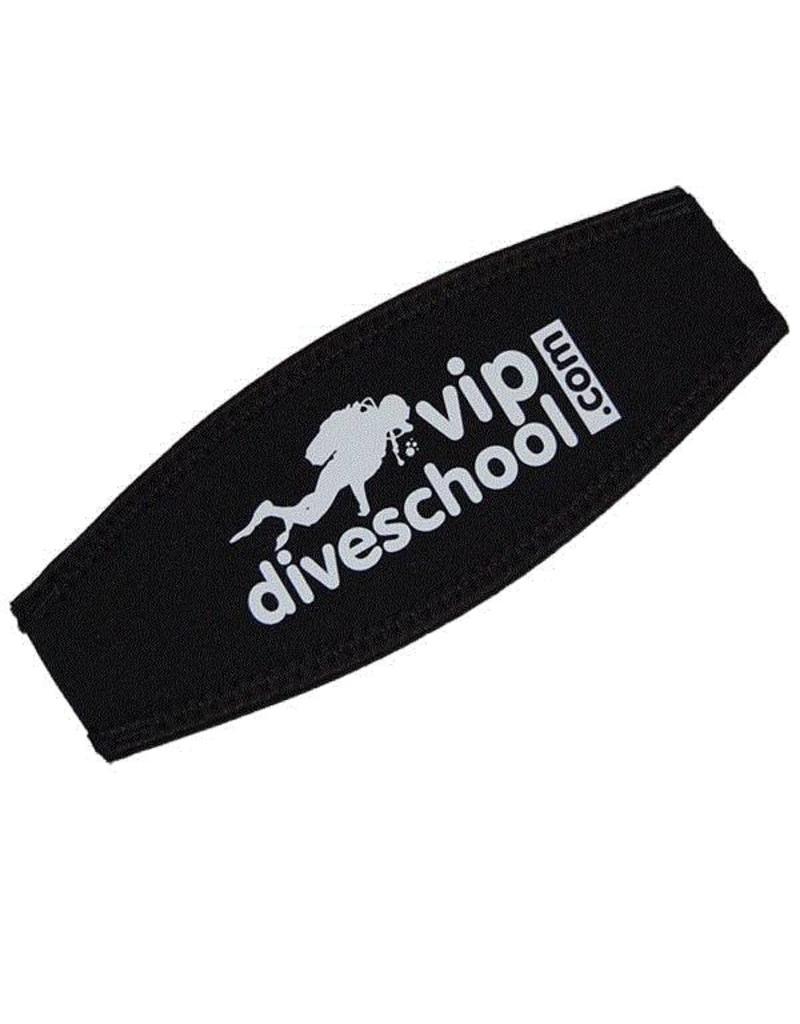 Neopreen maskerband met vipdiveschool logo opdruk