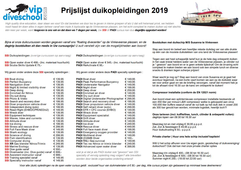 Prijslijst PADI & SSI duikopleidingen 2019 | Bootduiken Vinkeveen