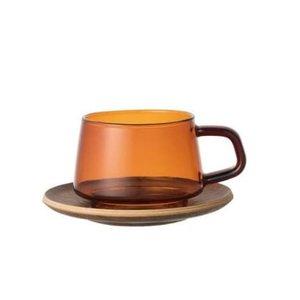 Kinto Sepia cup & saucer amber