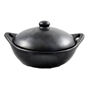 Indigena Black Pottery Round Casserole Low with lid XL