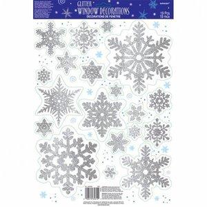 Raamdecoratie sneeuwvlokken glitter