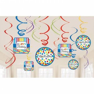 Hangdecoratie Happy Birthday Dots and stripes