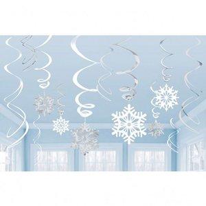 Hangdecoratie sneeuwvlokken 12 delig luxe