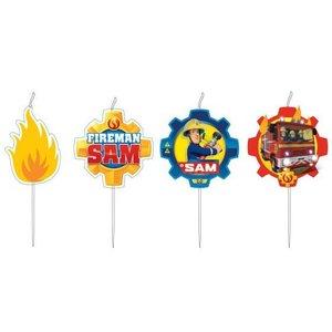 Kaarsjes Brandweerman Sam 4 stuks