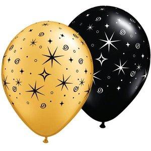 Ballonnen Sparkles goud en zwart 6 stuks