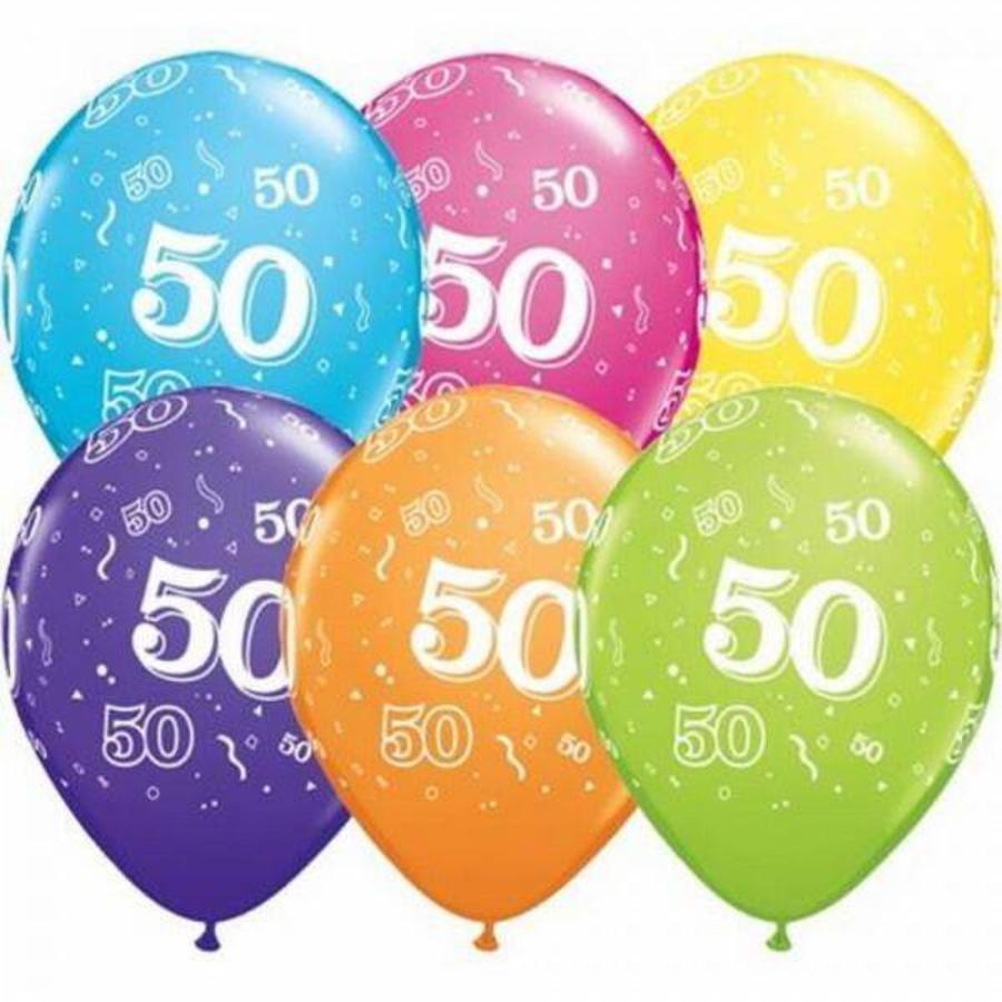 Ballonnen 50 jaar gekleurd 25 stuks