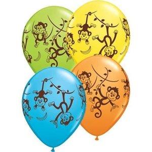 Ballonnen met tropische aapjes 5 stuks