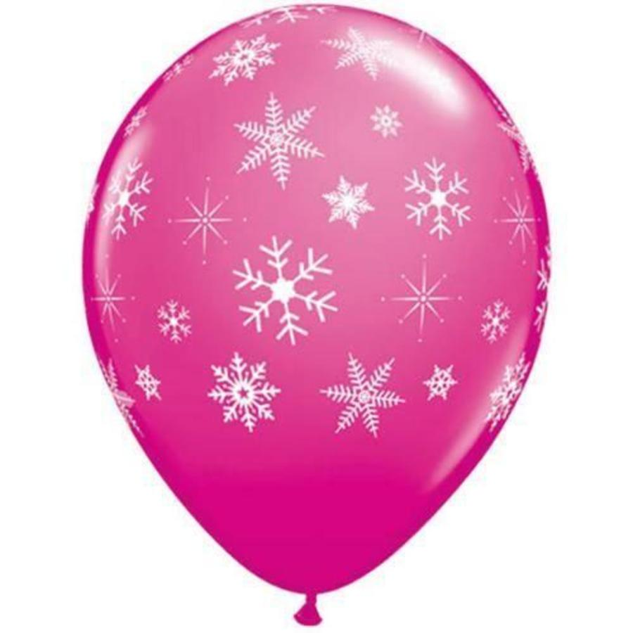 Ballonnen met sneeuwvlokken roze 6 stuks