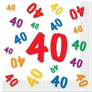 Servetten 40 jaar met gekleurde cijfertjes