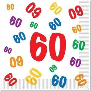 Servetten 60 jaar met gekleurde cijfertjes