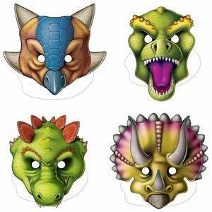 Dinosaurus maskers groot 4 stuks