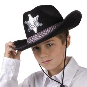 Cowboyhoed kind vilt zwart