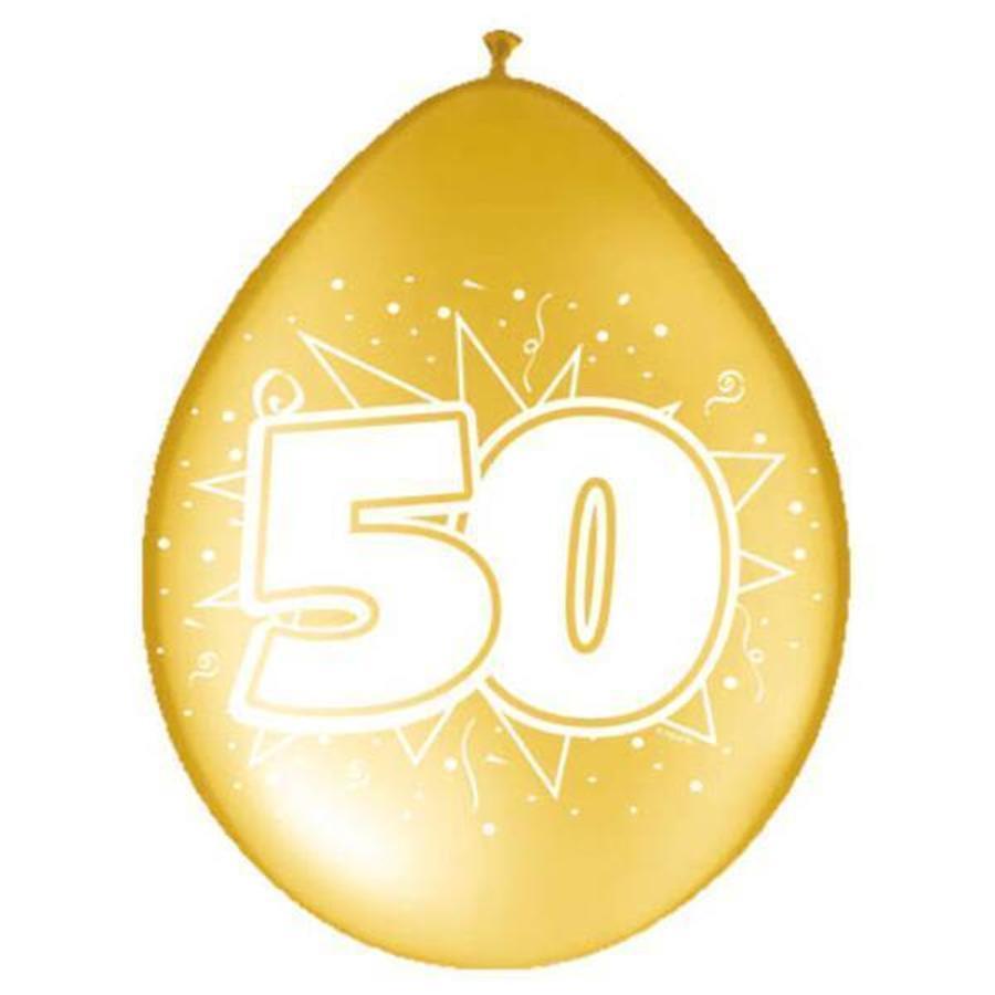 Ballonnen 50 jaar goudkleurig 8 stuks