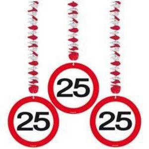 Hangdecoratie 25 verkeersbord