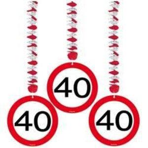 Hangdecoratie 40 verkeersbord